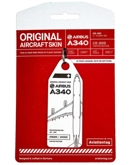 Swiss Airlines A340 luggage tag
